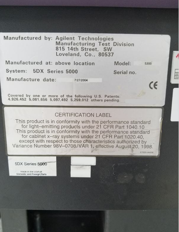 Check out Agilent-5 DX Series 5000-X- Ray-33270
