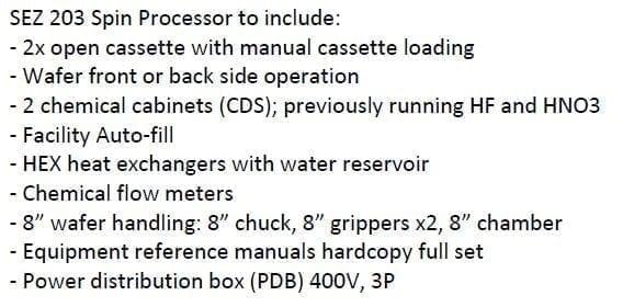 Lam-SEZ 203-Spin Processor-33052 Image 2