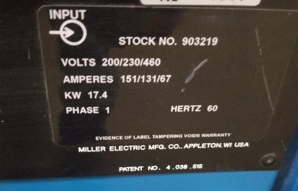 Miller-Syncrowave 351--42367 Refurbished