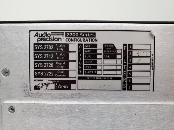 OPT:IMD, BUR with USB PC link module Details about  /Audio Precision  SYS-2722 Audio Analyzers
