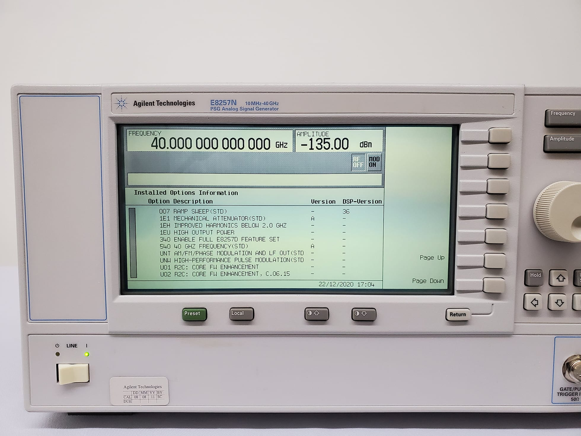 Agilent / Keysight-E 8257 N-PSG Analog Sweep Signal Generator-58101 For Sale