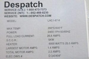 Despatch  LAC 1 67 8 Oven  60202 For Sale