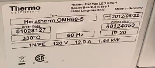Thermo Scientific Heratherm OMH 60 S Oven 60010