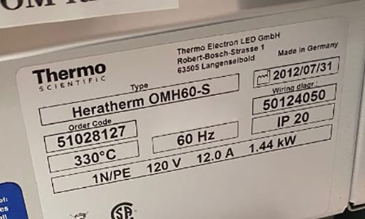 Thermo Scientific Heratherm OMH 60 S Oven 60010 Image 1