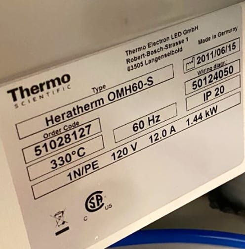 Thermo Scientific Heratherm OMH 60 S Oven 60010 Image 2