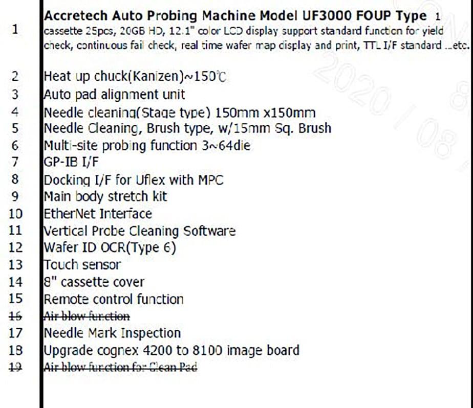 Accretech / TSK  UF 3000  Prober 60109 For Sale