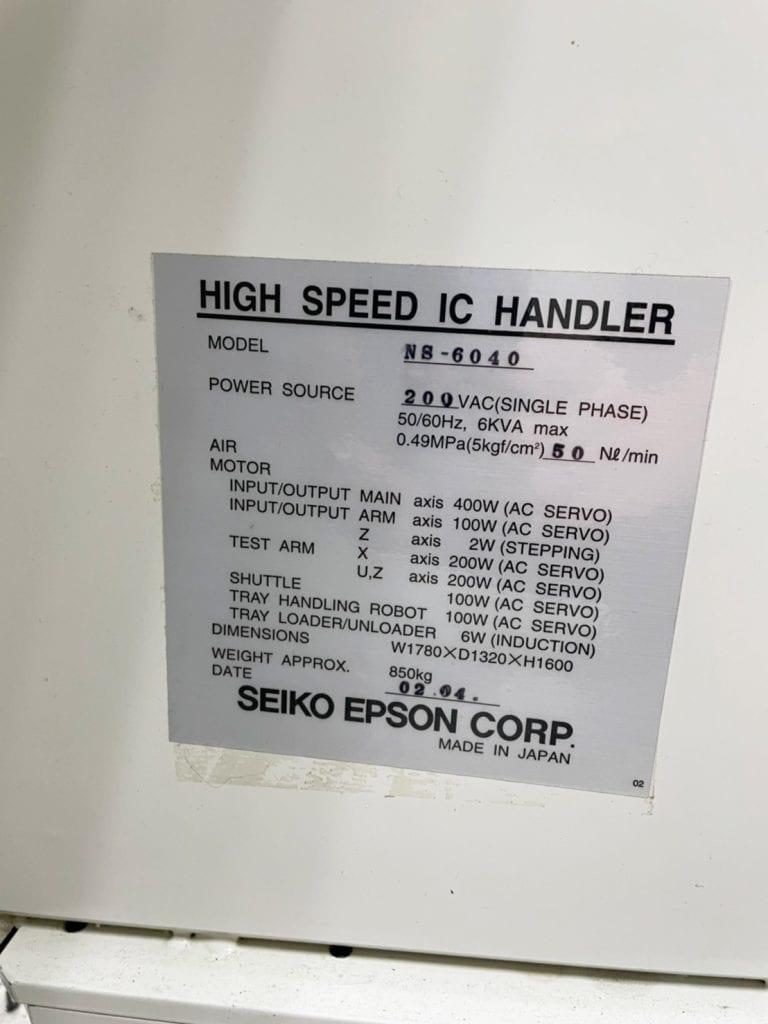 Epson / Seiko  NS 6040  High Speed IC Handler  60085 Refurbished