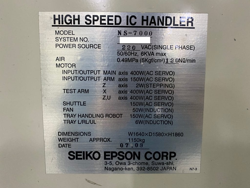 Check out Seiko / Epson  NS 7000  High Speed IC Handler  60209