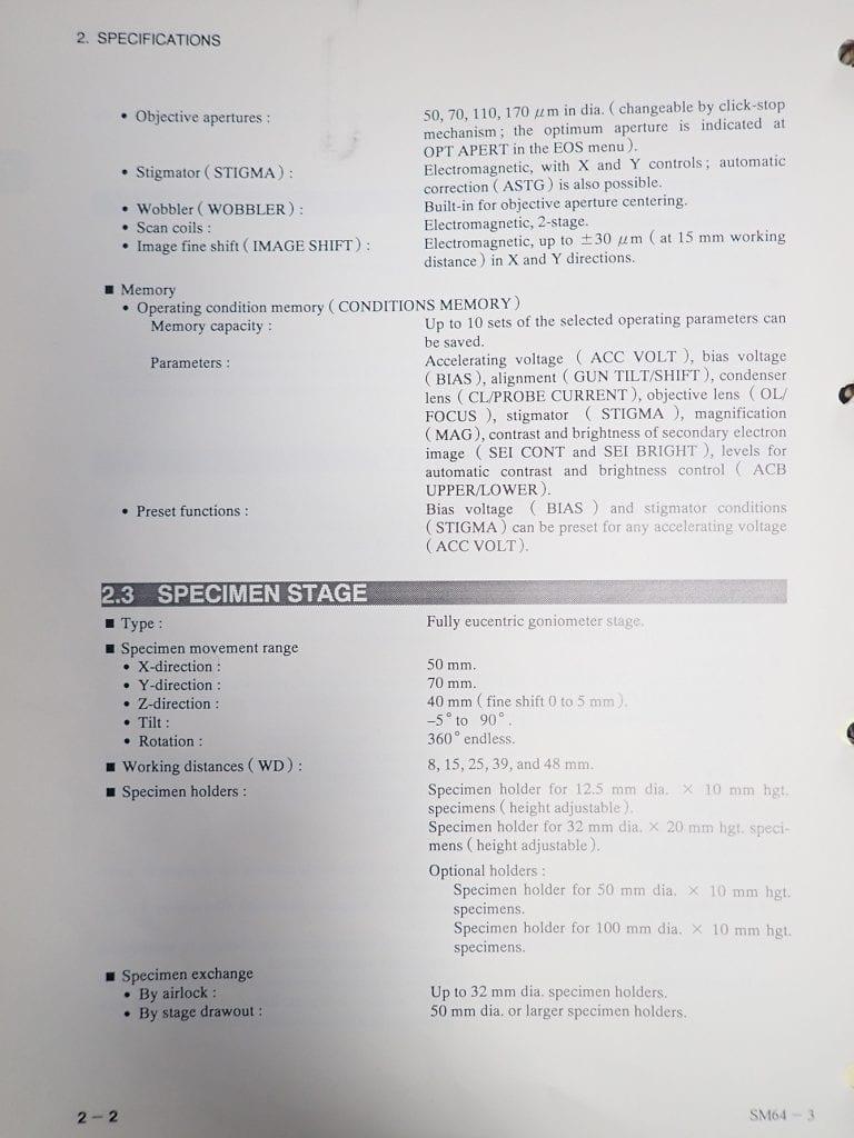 Jeol  6400  Scanning Electron Microscope (SEM)  60214