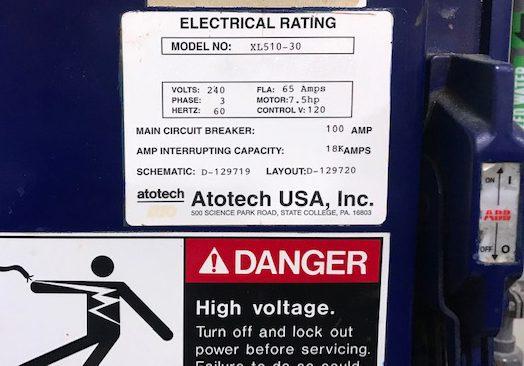 Buy Online Atotech  XL 510 30  Etcher Line  61431