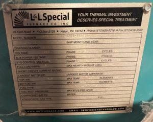 L&L Special Furnace 386 1567 27 6921 480 R 3 K J 12 Furnace 61298 For Sale